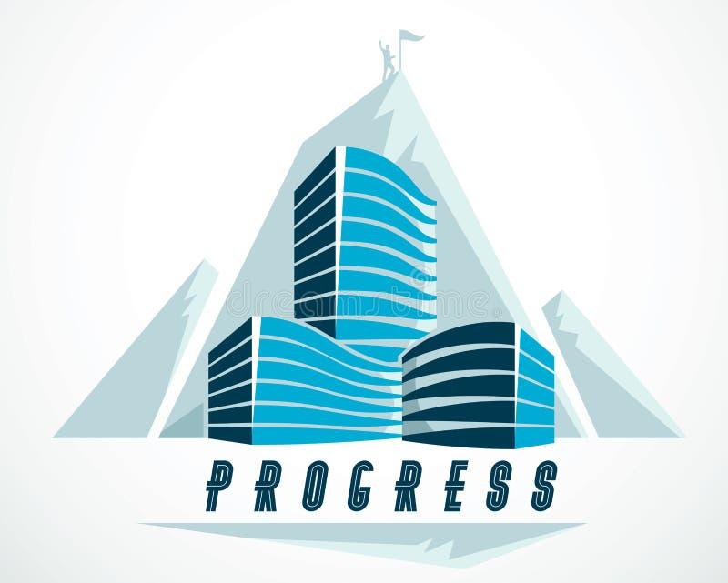 Rock climber come concetto per raggiungere l'obiettivo del successo dietro la moderna struttura di business office Concetto di ca illustrazione di stock
