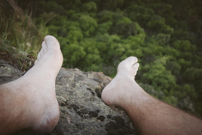 Rock climber foot selfie royalty free stock photography