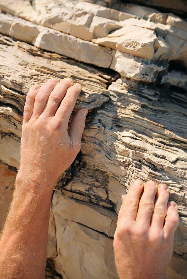 Rock climber - hands. Rock climber, detail of hands stock photo