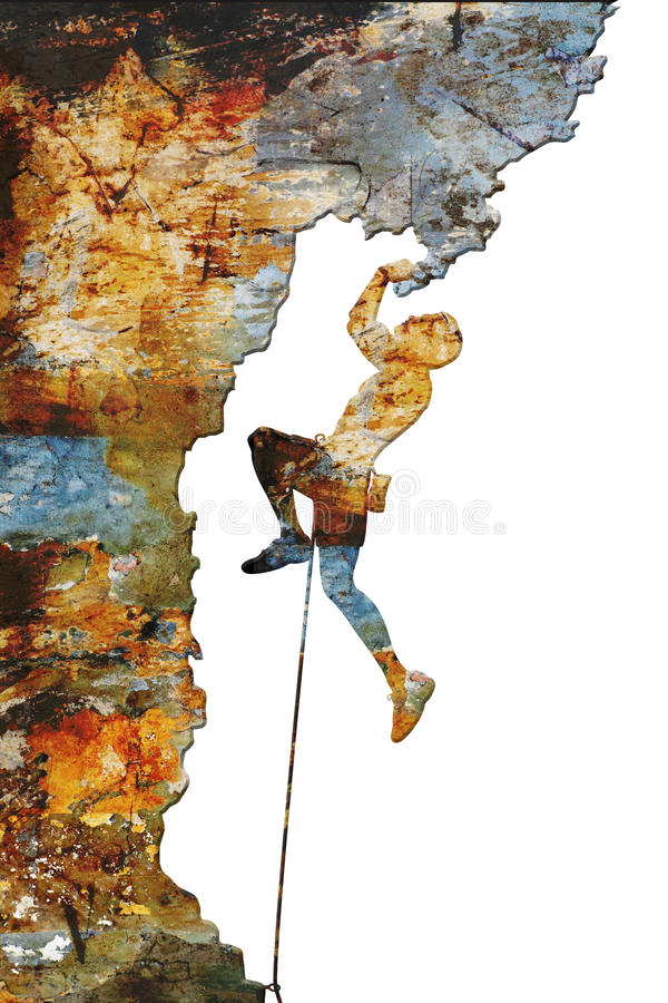Rock climber. Illustration of a rock climber on an overhang with colorful abstract texture stock illustration