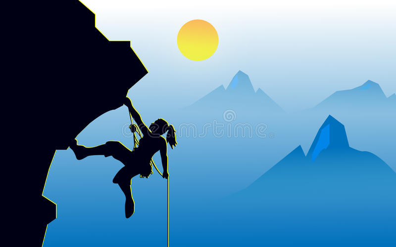 Rock climber. Illustration vector of girl climber get to the top of rock mountain royalty free illustration