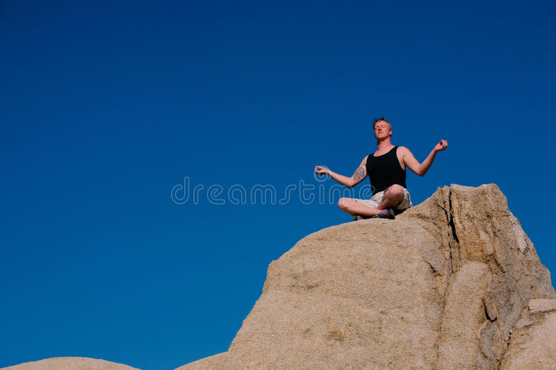 Rock Climber Meditation Stock Photos