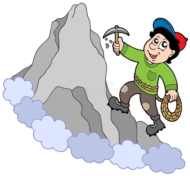 Rock Climber On Mountain Stock Images