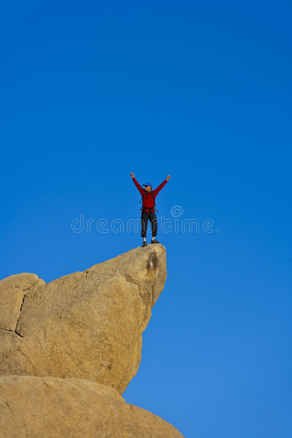 Download Rock Climber Nearing The Summit. Royalty Free Stock Photography - Image: 9060087