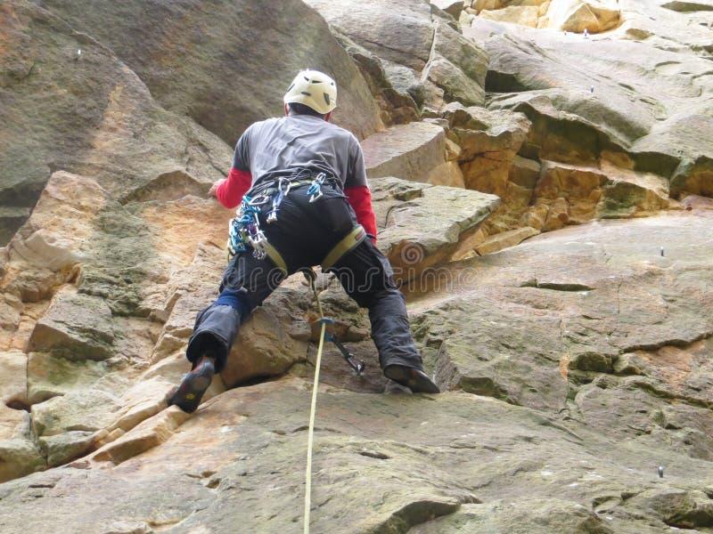 Rock with climber royalty free stock photos