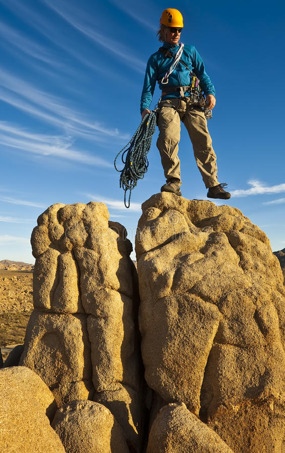 Download Rock Climber On The Summit. Stock Photo - Image: 19498914