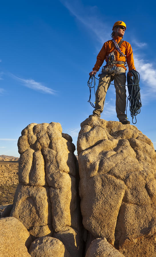 Download Rock Climber On The Summit. Stock Image - Image: 19498931