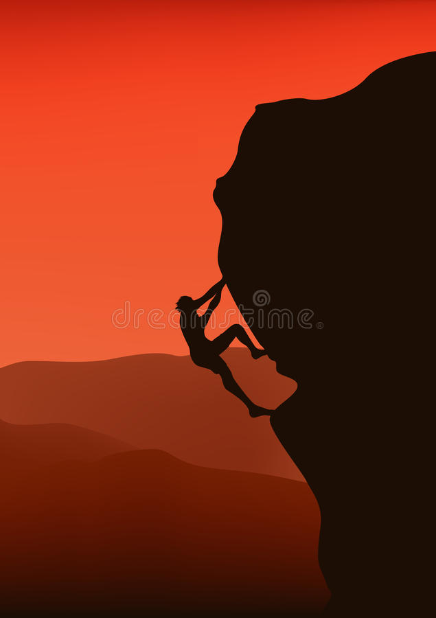Rock climber vector. Silhouette of rock climber against distant slopes at sunset stock illustration