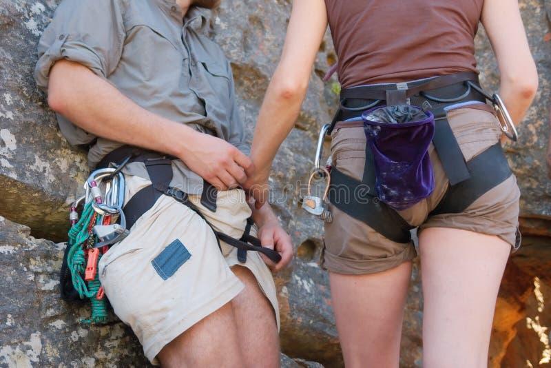 Rock climbers' couple - closeup stock image