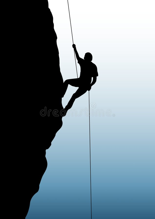 Rock climbing. Illustration of person rock climbing