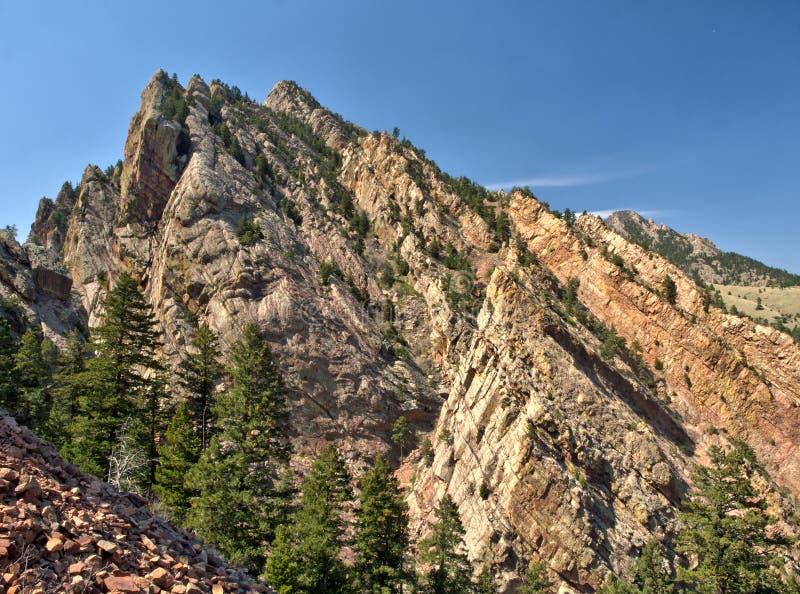 Rock climbing cliff in Eldorado Canyon State Park, Colorado stock images