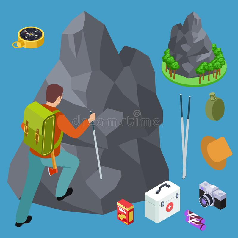 Rock climbing, hiking isometric vector equipments set royalty free illustration