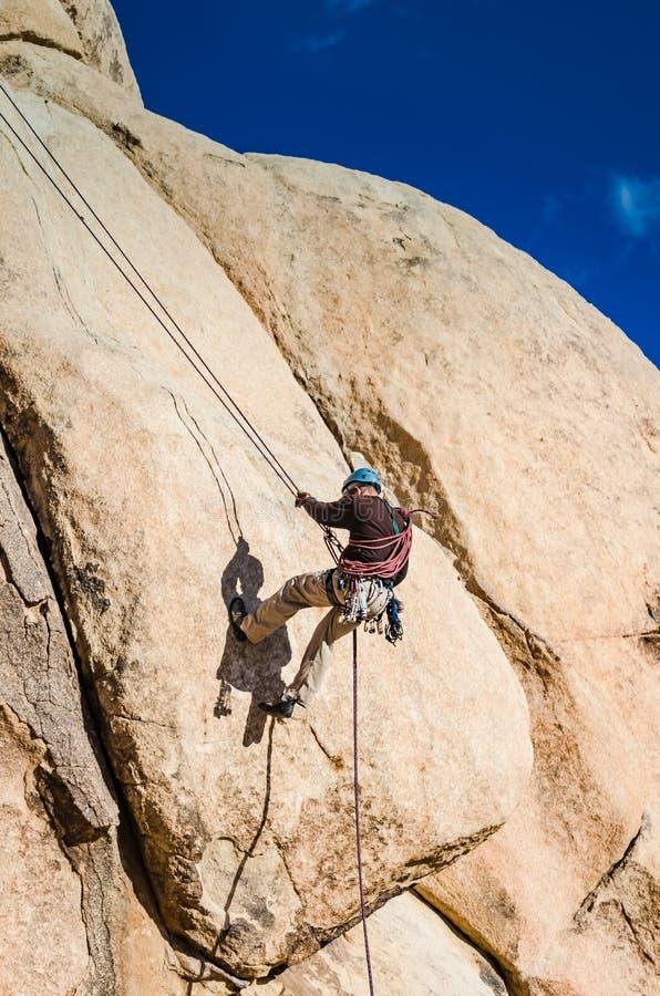 Rock Climbing Intersection Rock - Joshua Tree National Park - CA royalty free stock photos