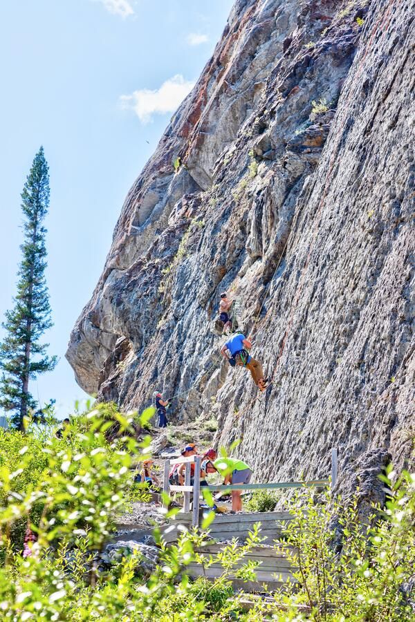 Rock Climbing in the Kananaskis Country of Canmore, Alberta, Canada stock photos