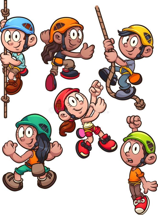 Cartoon rock climbing kids clip art vector illustration