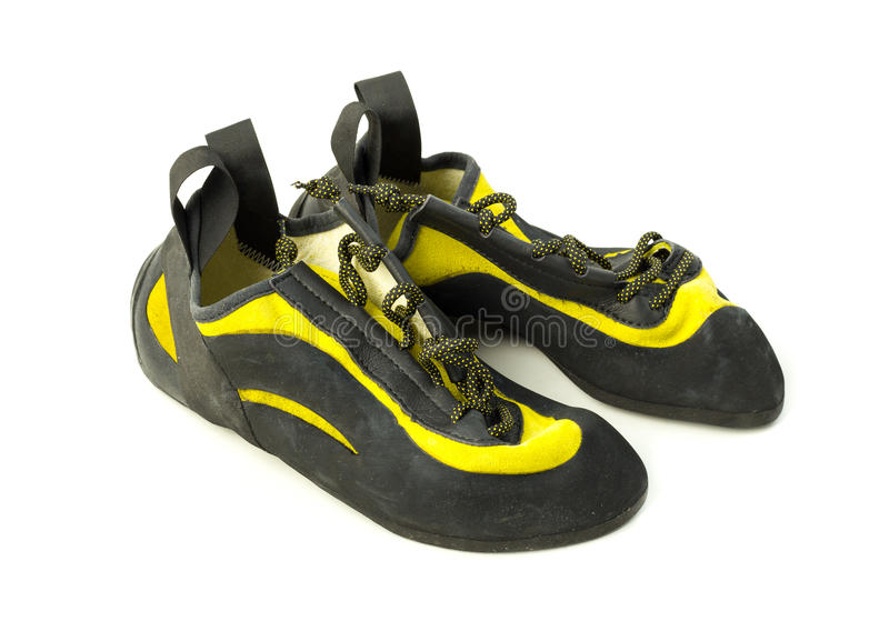 Rock climbing shoes stock photo