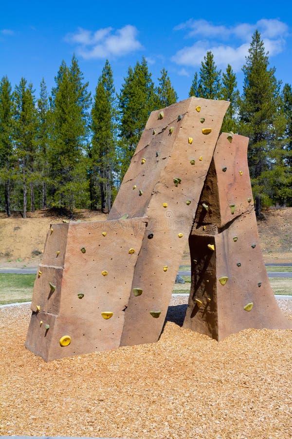 Rock Climbing Wall at Park stock image. Image of outdoor ...