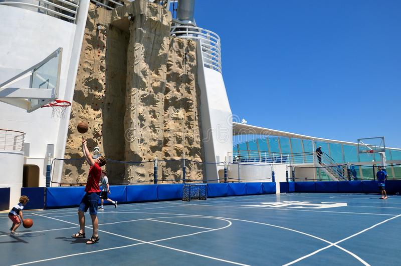 Rock Climbing Wall on sports deck, Royal Caribbean royalty free stock photos