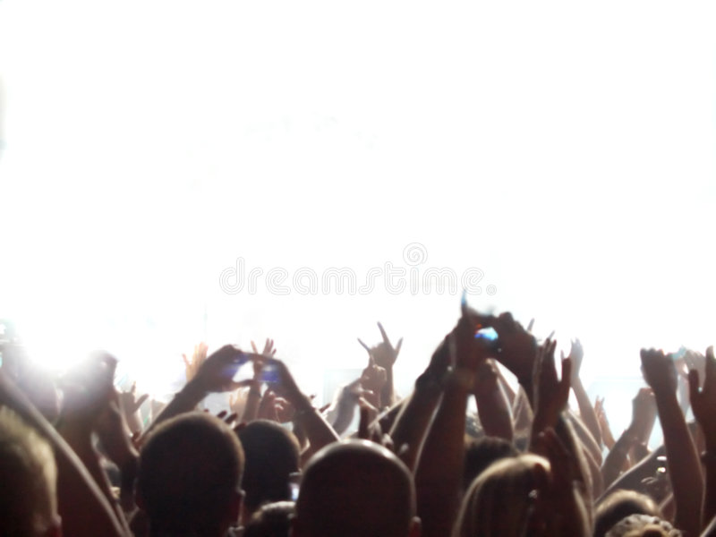 Rock concert audience. Out of focus with blank stage. Focus will be on the person/product that can be put on the stage