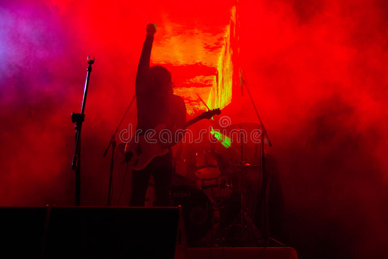 Rock concert. Guitarist at a rock Concert stock images