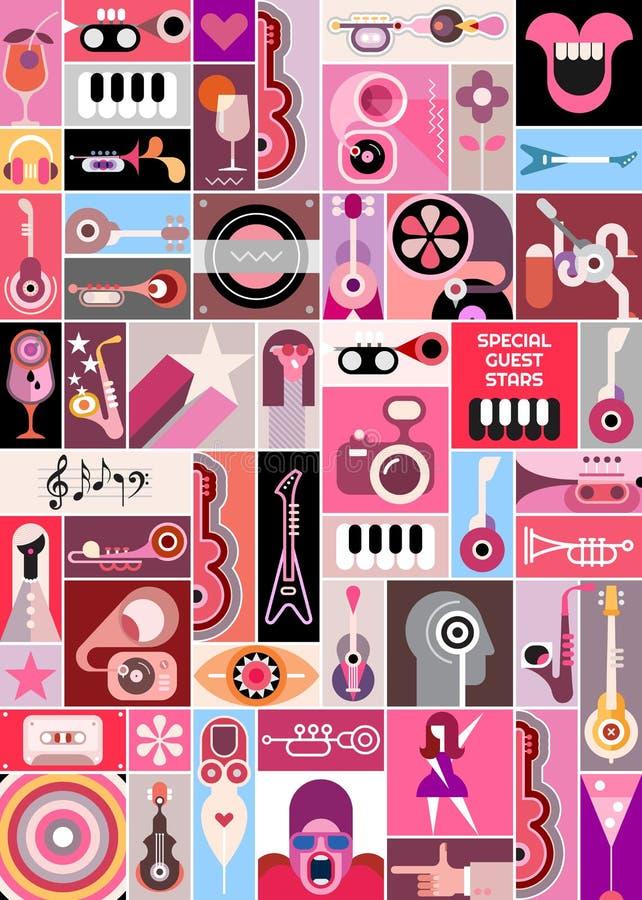Download Rock Concert Pop Art Collage Stock Vector