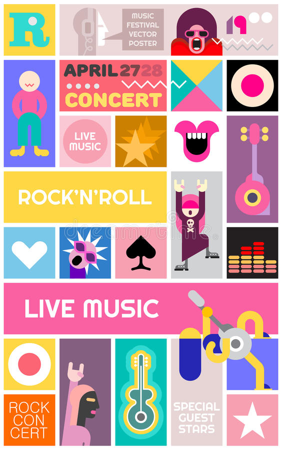 Rock Concert Poster Template royalty free illustration