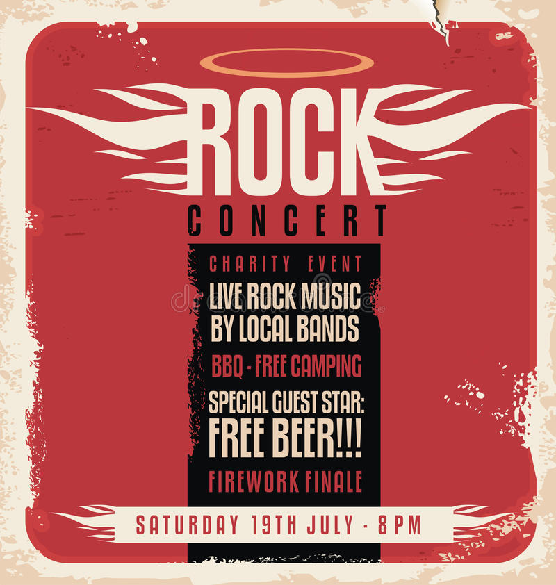 Free Rock Concert Retro Poster Design Royalty Free Stock Image - 36407796