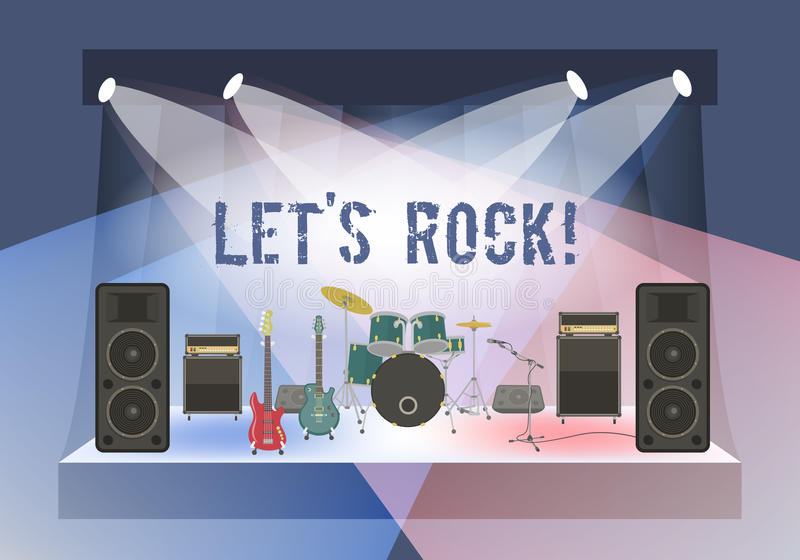 Rock Concert Stage. Modern flat vector illustration of rock concert stage with musical instruments and sound equipment. Rock concert organization conceptual royalty free illustration