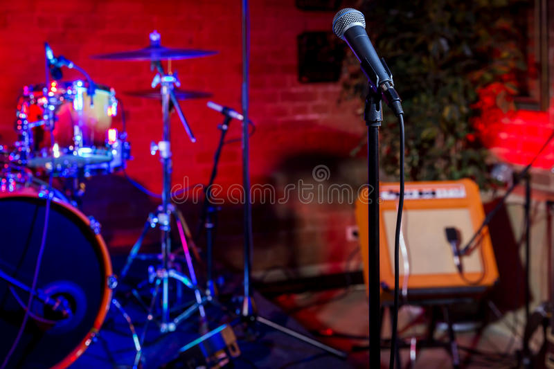 Rock concert stage. With musical instruments in nightclub stock photo
