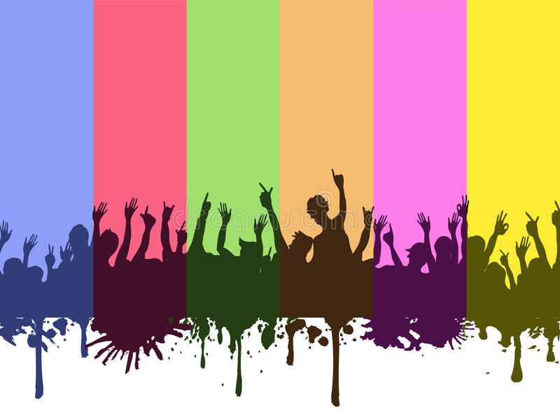 Download Rock Crowds On Rainbow Background Stock Vector - Image: 22308374