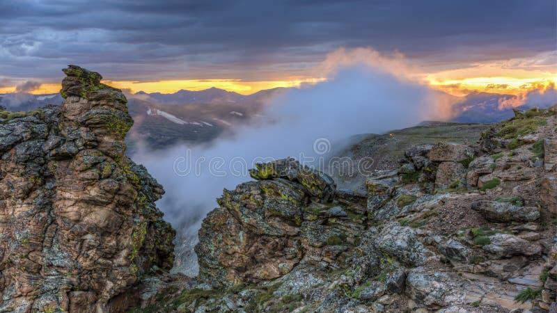 Rock Cut Foggy Sunset stock photos