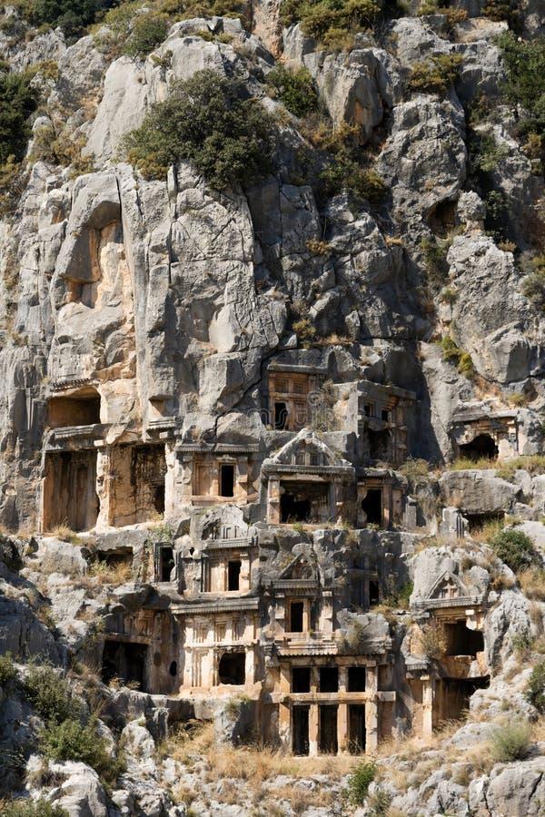 Rock-cut tombs in Myra royalty free stock photos