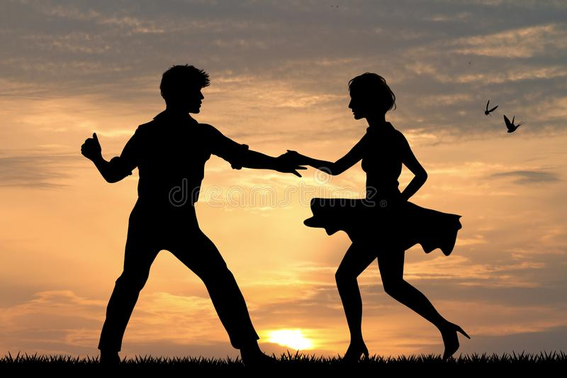 Rock de couples et boogie de danse de boogie illustration libre de droits