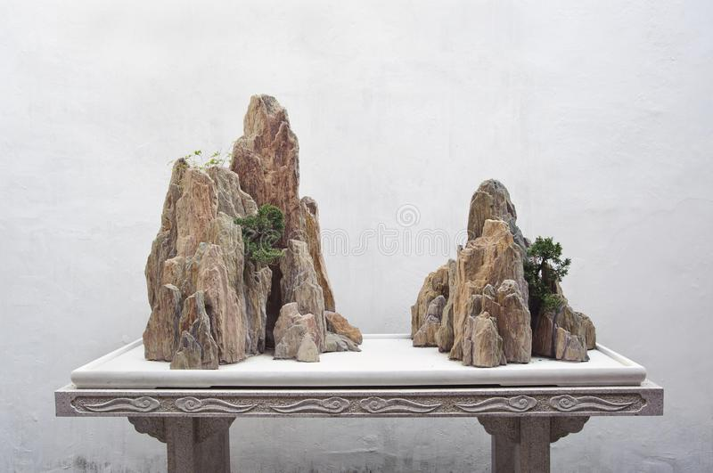 Rock display at the Couple`s Retreat Garden, Suzhou, China stock images
