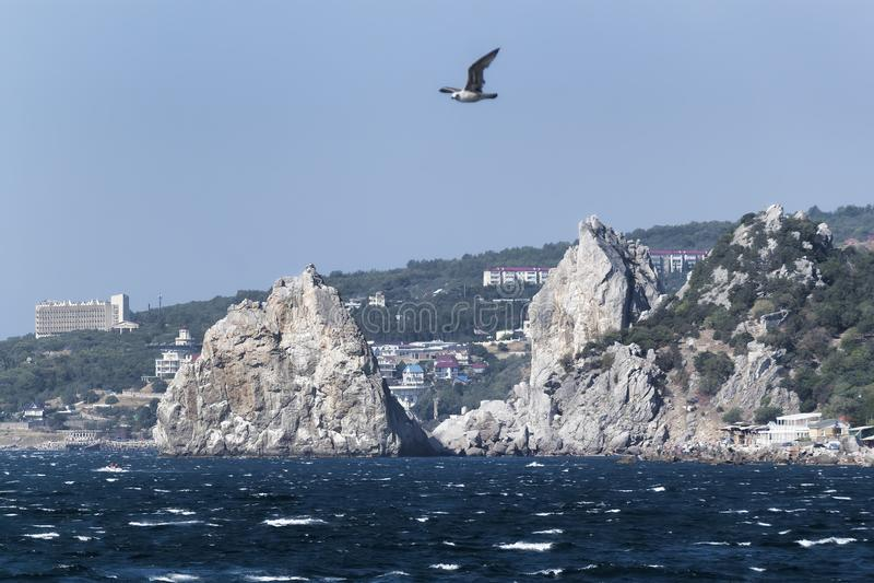 Rock Diva and Mount Cat in Simeiz. Crimea, Ukraine stock photography
