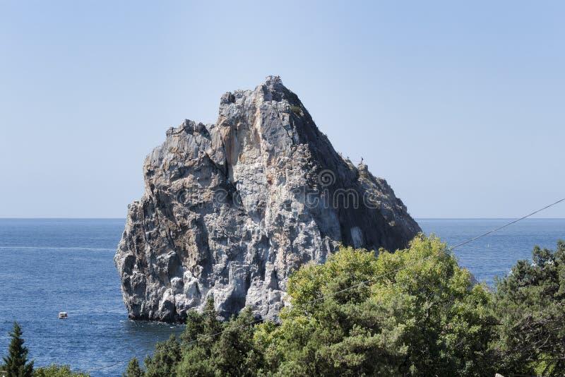 Rock Diva at the shore of Simeiz. Crimea, Ukraine royalty free stock image