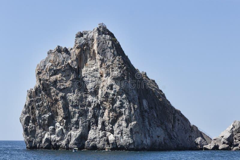 Rock Diva at the shore of Simeiz. Crimea, Ukraine royalty free stock photos