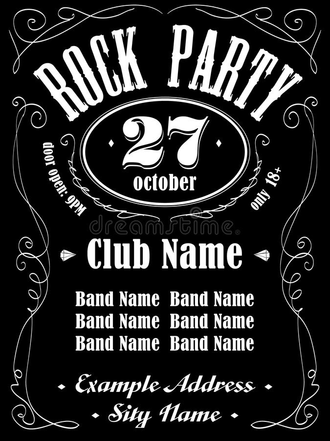 Rock Event Poster Or Flyer Template Stock Vector Illustration Of