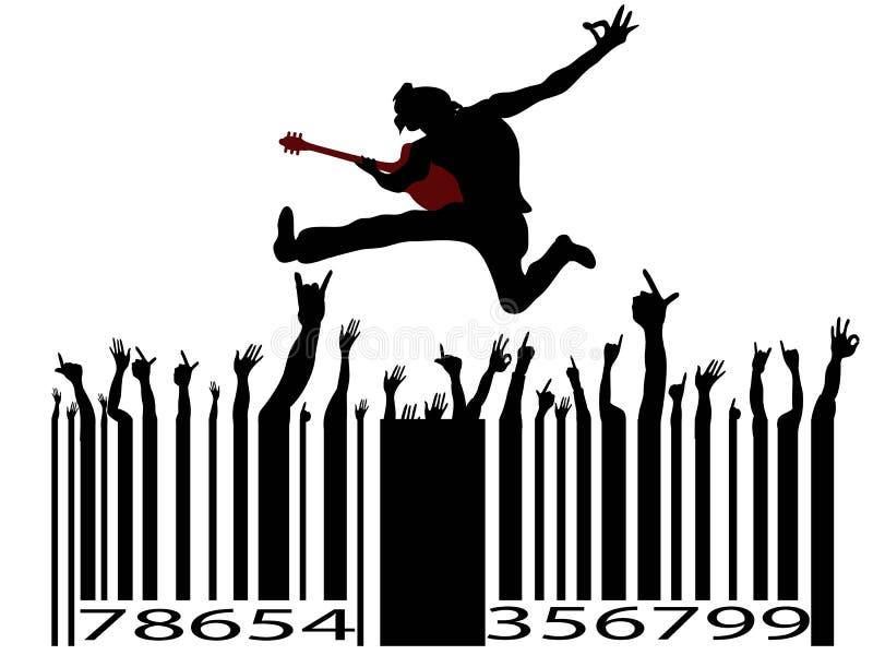 rock för musik för stångkod stock illustrationer