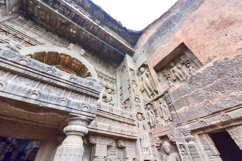 Rock Facade of Ajanta Caves in Aurangabad, India. Details of Rock Facade of Ajanta Caves in Aurangabad, India stock photography