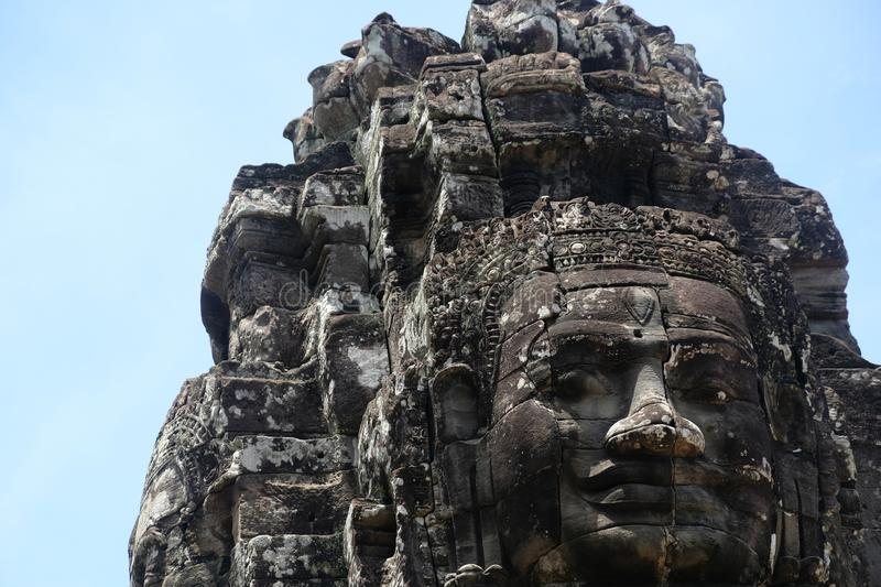 Rock faces in the temple of Bayon, Angkor, Cambodia. Big rock faces in Bayon temple, so beauiful and huge royalty free stock image