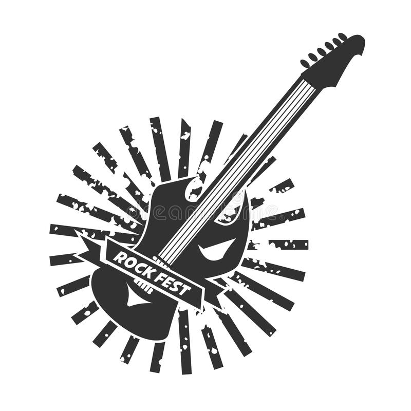Download Rock Fest Logotype With Colorless Guitar On White Stock Vector - Illustration of guitar, line: 89352589