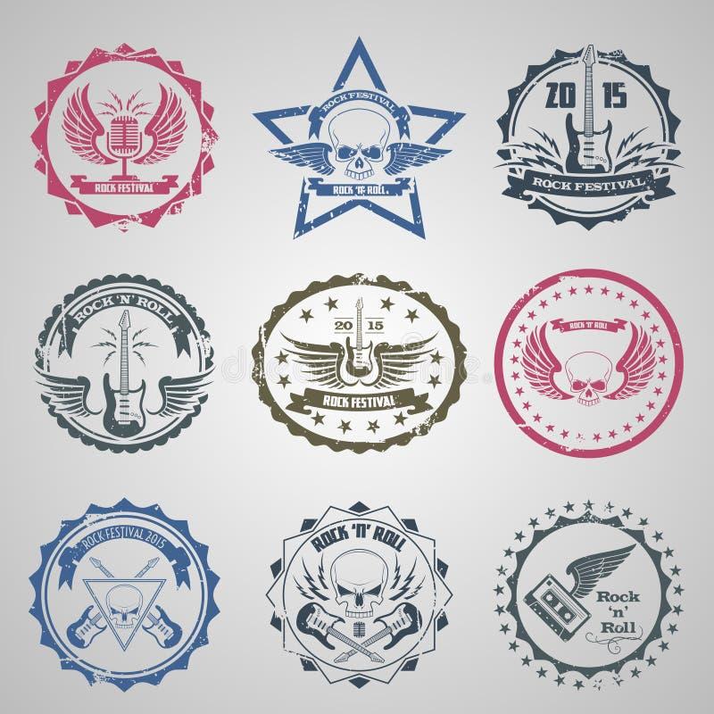 Rock festival stamps vector illustration