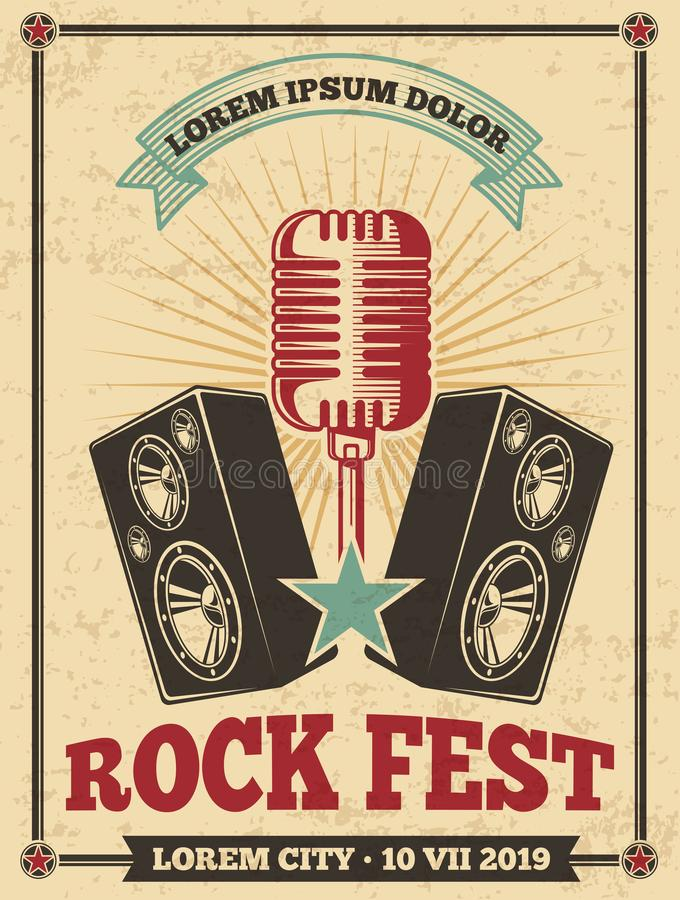 Rock festival vintage vector poster. Rock and roll concert retro background royalty free illustration