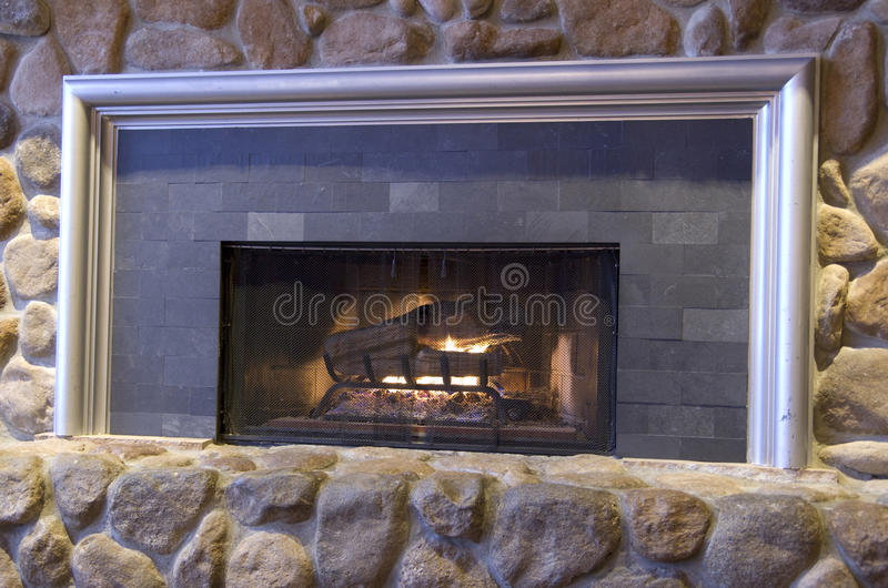 Rock fireplace royalty free stock photos
