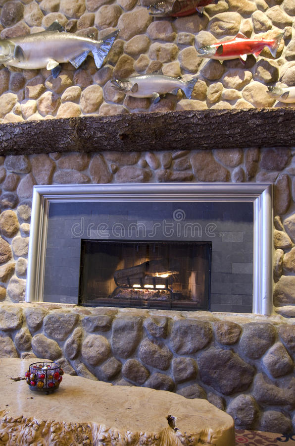 Rock fireplace royalty free stock photography