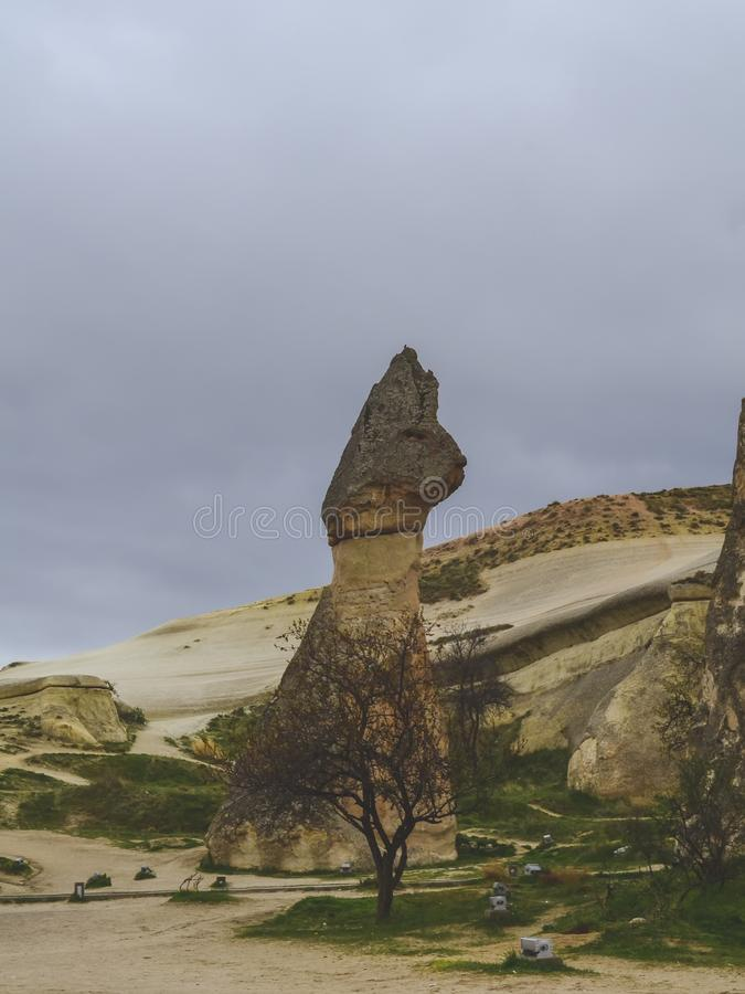 A rock in the form of a hare in Turkish Cappadocia. Pashabag Valley stock photography