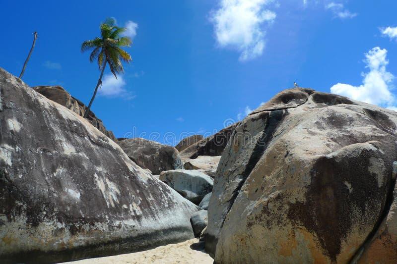 Rock formation at The Baths, British Virgin Islands stock photo
