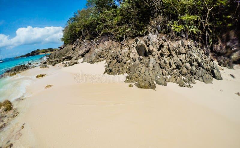 Rock formation on the beach in St. John USVI, Caribbean. Paradise beach in Caribbean stock photos