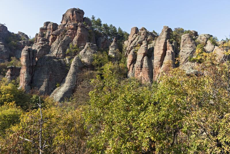 Rock Formation Belogradchik Rocks, Vidin Region, Bulgaria. Amazing Sunset view of Rock Formation Belogradchik Rocks, Vidin Region, Bulgaria royalty free stock image